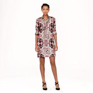 J Crew Collection Italian Silk Shirtdress Tapestry
